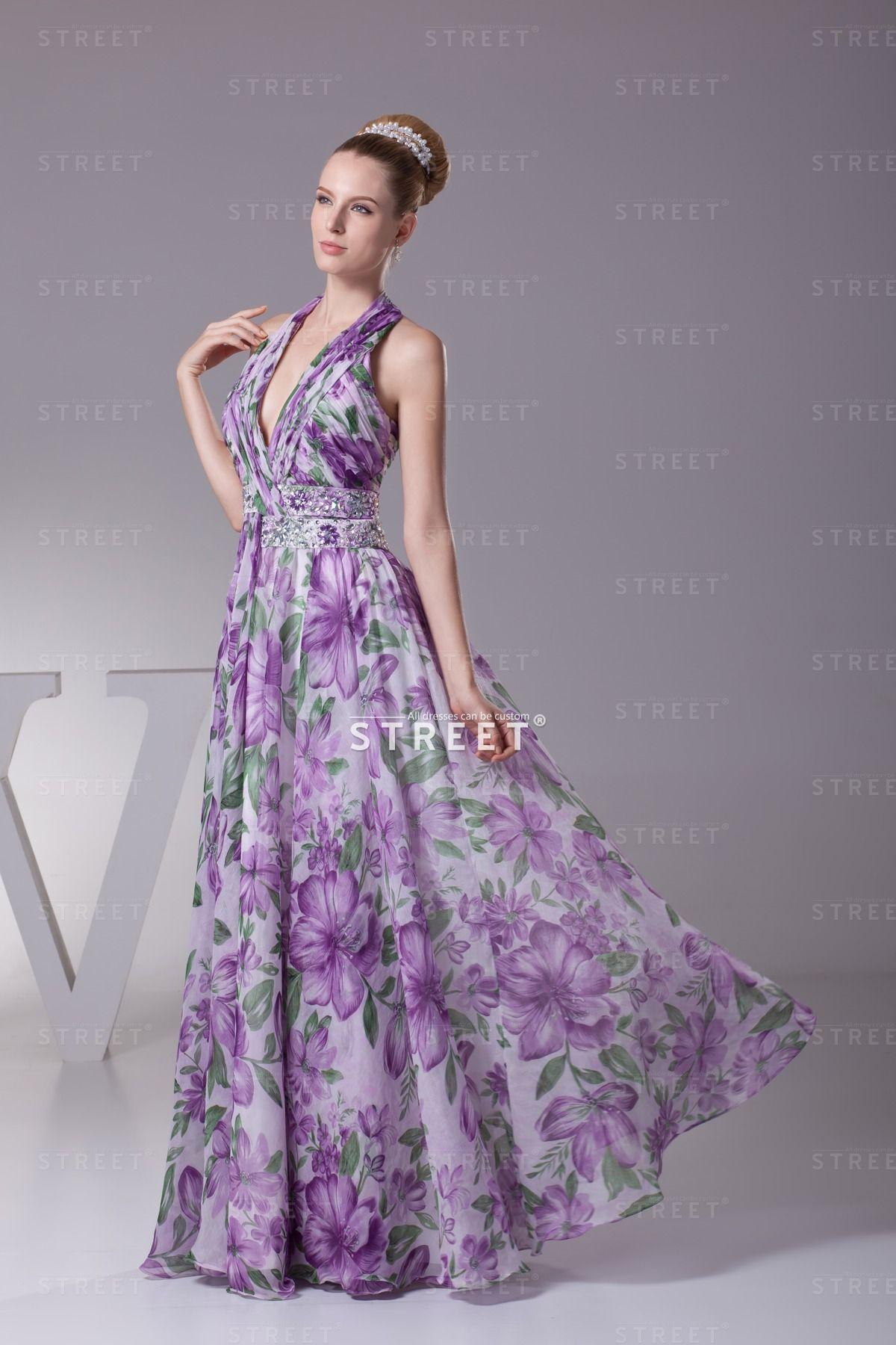 Flattering Awesone Purple Floor Length Floral Jewered Helter Chiffon Wedding Guest Dress Floorlen Plum Wedding Dresses Evening Dresses Prom Best Prom Dresses [ 1800 x 1200 Pixel ]