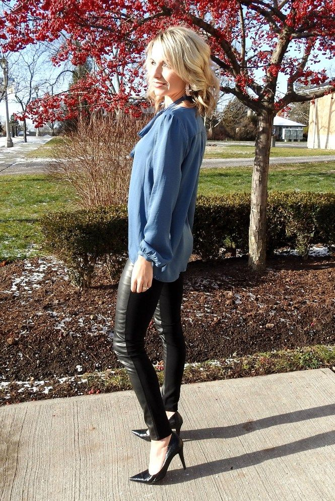 pretty tie up blouse and pleather pants