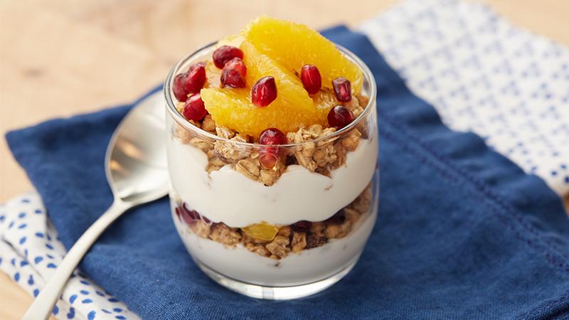 Winter Fruit Protein Parfait Breakfast yogurt parfait