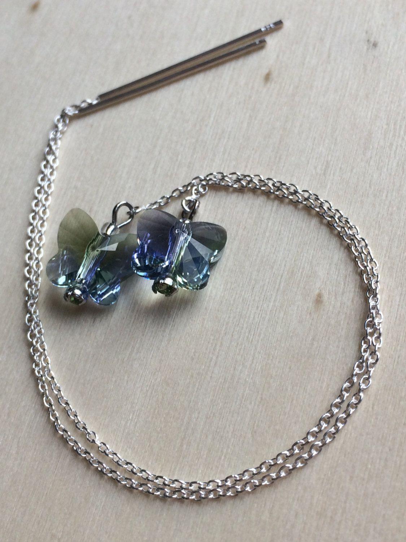 Long Sterling Silver Threader Earrings With Swarovski Lavender Chrysolite Crystal Erflies Minimalist Jewelry Modern