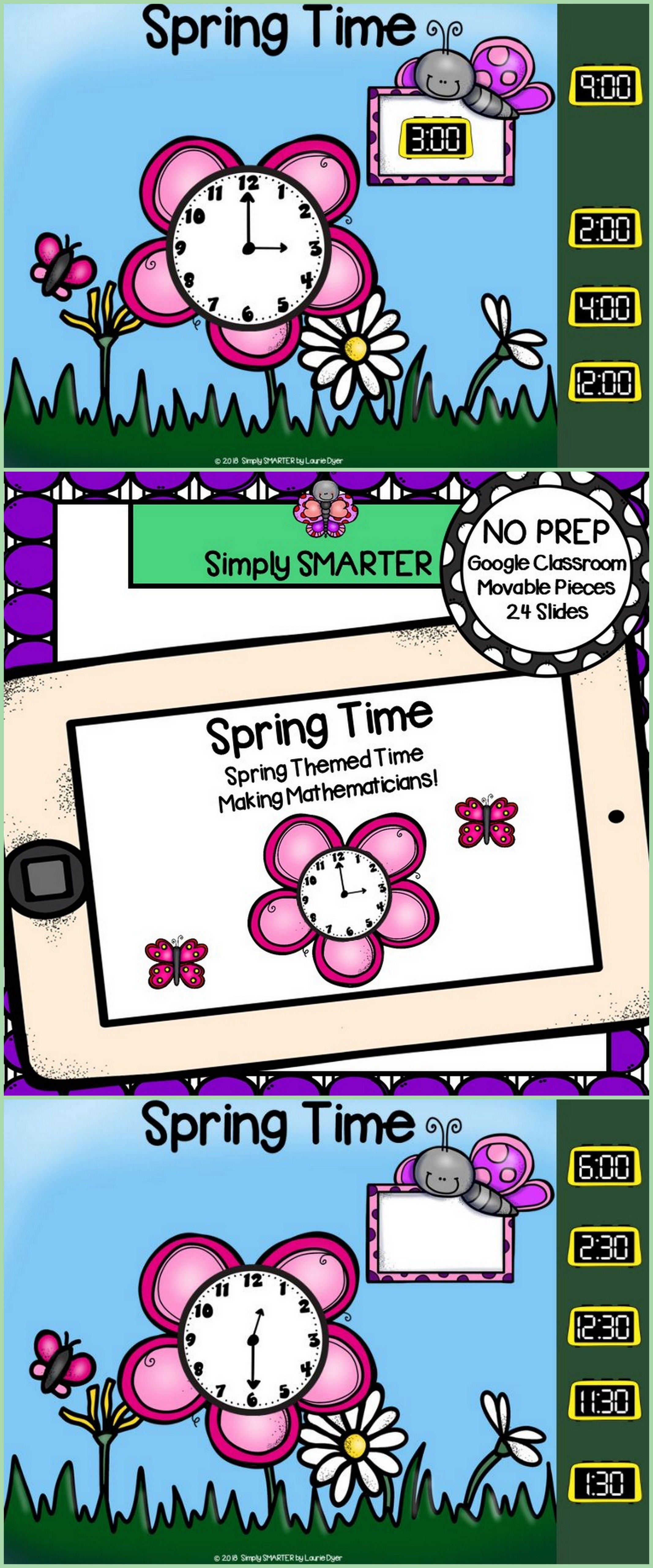Spring Themed Time To The Hour And Half Hour Activities For GOOGLE