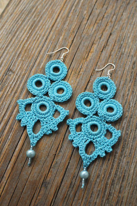 Blue Earringsearringsblue Crochet Earringsgift Idea For Women