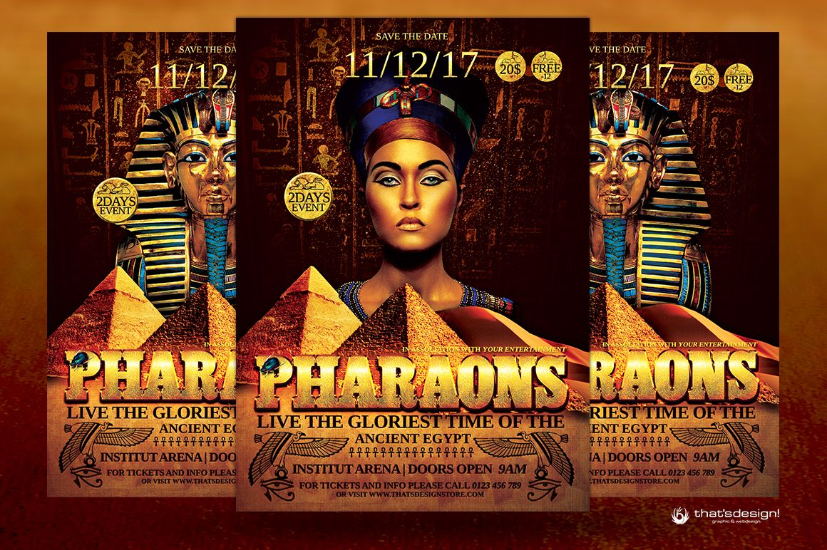 Ancient Egypt Event Flyer Template Psd For Seminar Conference