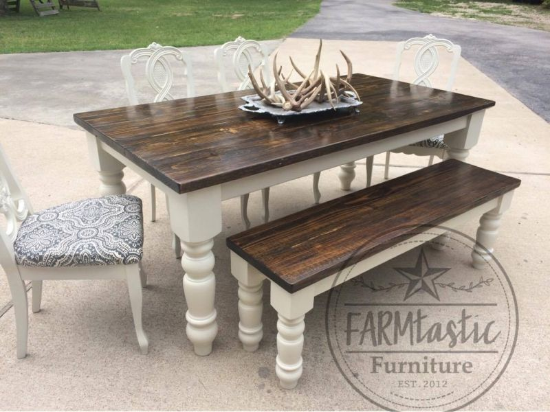 Farmtastic Table in Antique White Milk Paint & Arm R Seal Topcoat