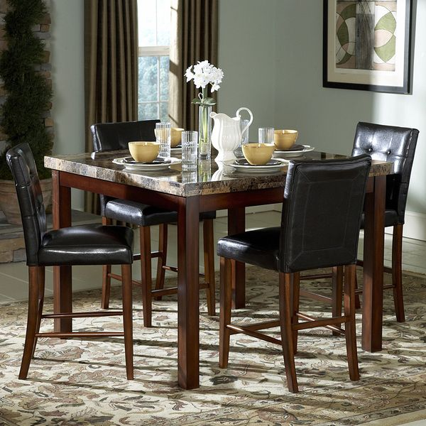 TRIBECCA HOME Keith Faux Marble 5 piece 48 inch Cherry Dining Set