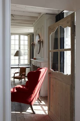 Belgian Interior /Martine Haddouche | Inspiration (reupholster the wing chair in rich red).