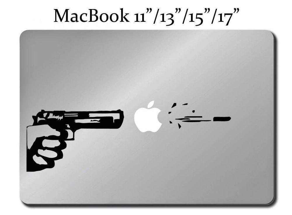 APPLE GUN Decal LAPTOP MACBOOK Mac Pro Air Sticker ALL SIZES - Custom gun barrel stickersgun decals shotgun barrel sticker shooting ammo decal