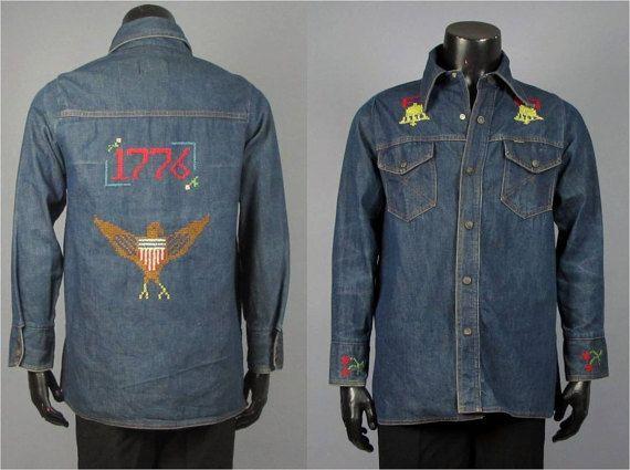 Vintage Men's 1970s Shirt Jacket Size Medium R4XiF