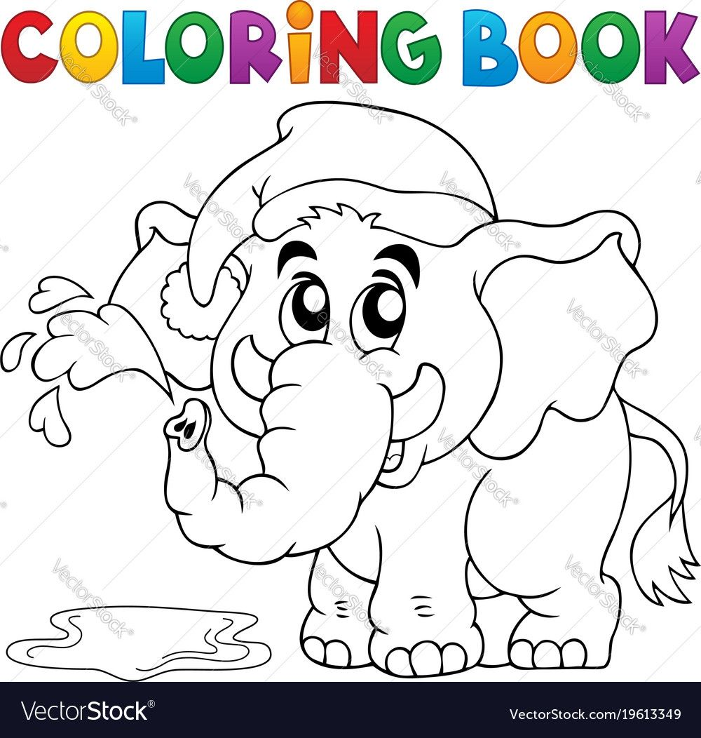 Coloring Book Elephant With Hat Vector Image On Vectorstock Coloring Books Coloring Book Pages Unicorn Coloring Pages
