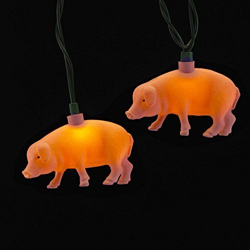 Set Of 10 Decorative Pink Pig Novelty Lights Green Wire To View