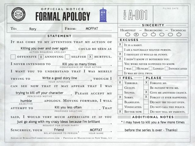Formal Apology to Rory from MOFFAT Form letter, Just love and I love - letter of apology