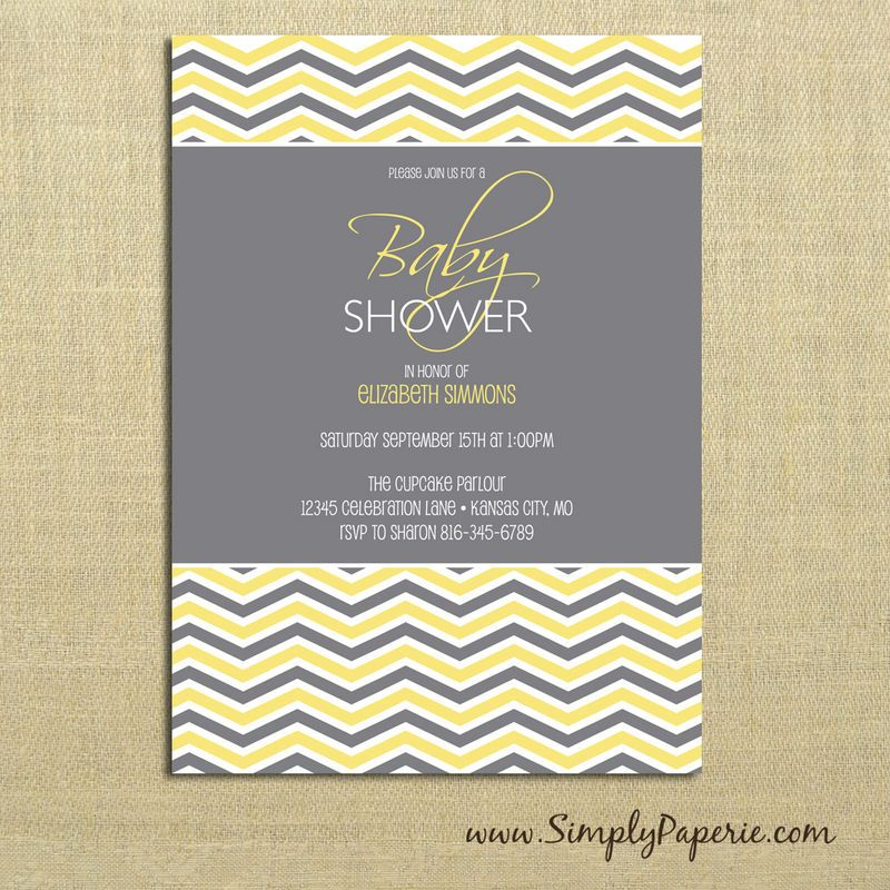grey chevron baby shower invitations- in blue | baby boy heir,