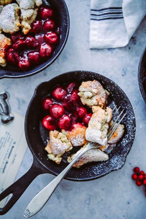 rezept fur mohn zimt kaiserschmarrn mit heia en kirschen pulled pancake recipe pancakes food photography and food