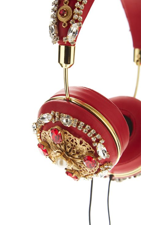 Red Embroidered Nappa Leather Headphones by Dolce & Gabbana for Preorder on Moda Operandi