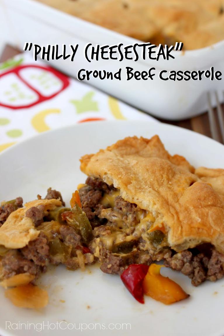 Philly Cheesesteak Ground Beef Casserole Ground Beef Casserole Ground Beef Casserole Recipes Philly Cheese Steak