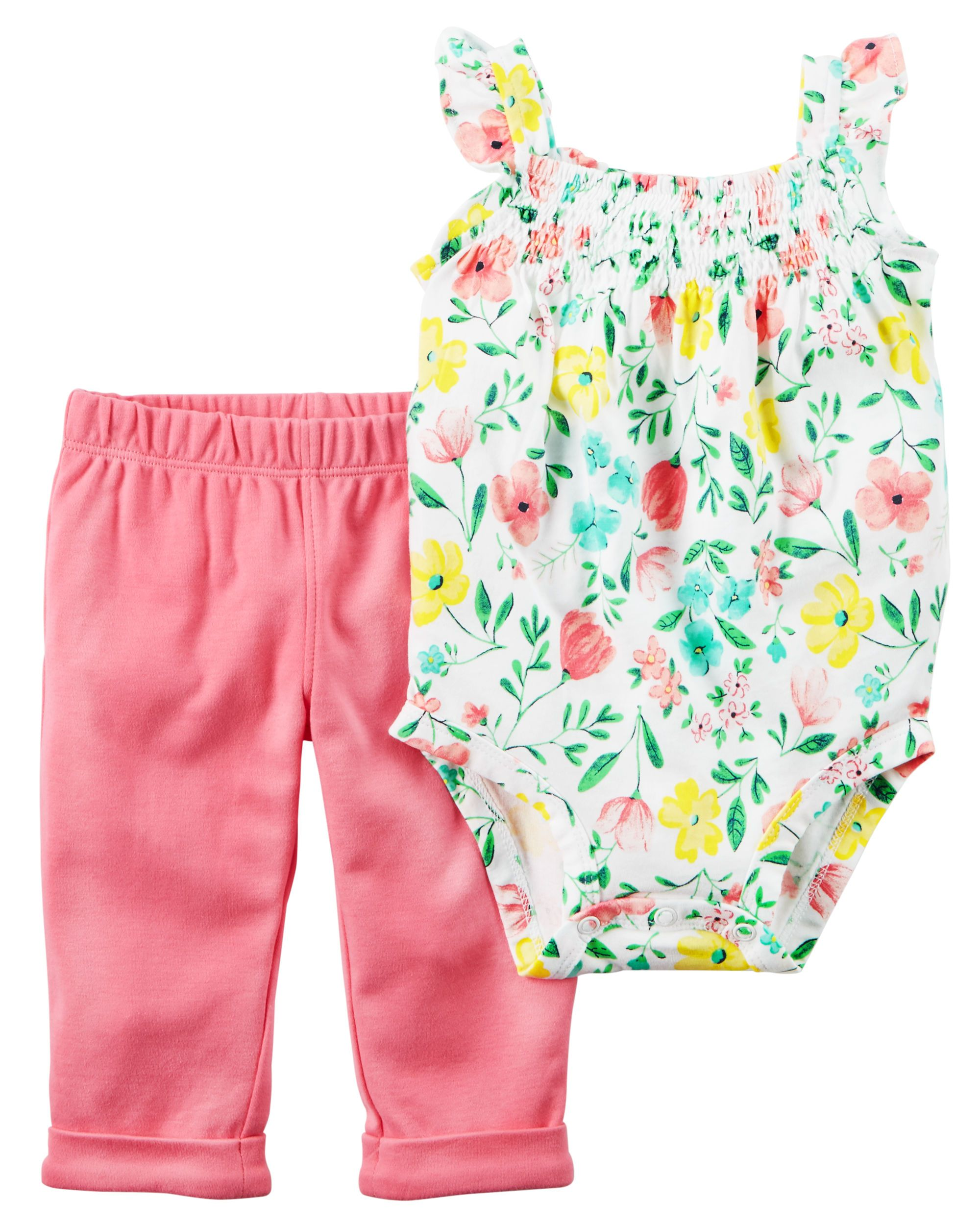 53cfcf3aef2d8 Baby Girl 2-Piece Bodysuit & Pant Set Crafted in super soft cotton, this  2-piece set keeps her cute and comfy for all-day play.