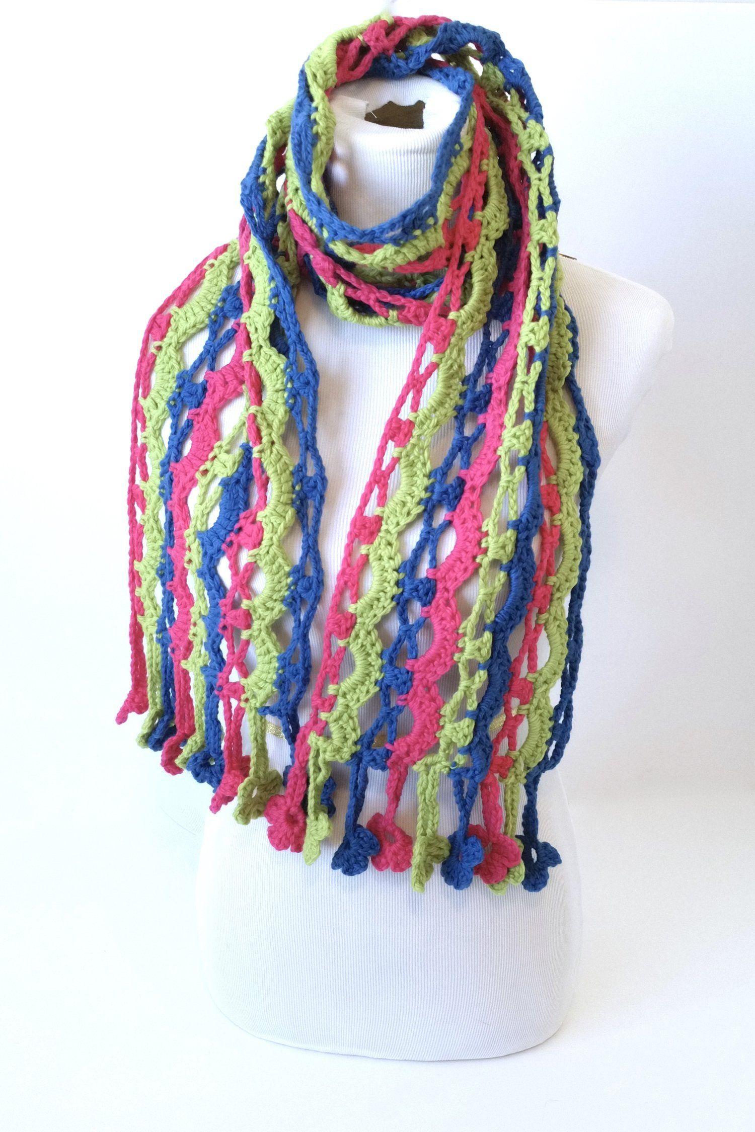 Aug 10 Brave Flower Fringe Crochet Scarf Free Pattern | Crochet by ...