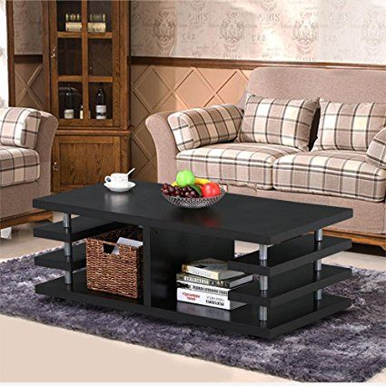Yaheetech Modern Black Wood Coffee Table Multi Tier Design with