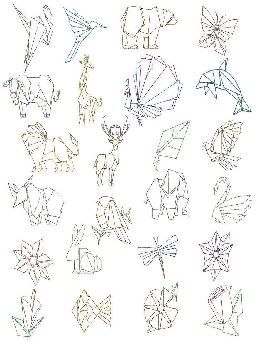 Photo of Origami – Origami   Dessins de broderie à la machine par Sew Swell Оригам…