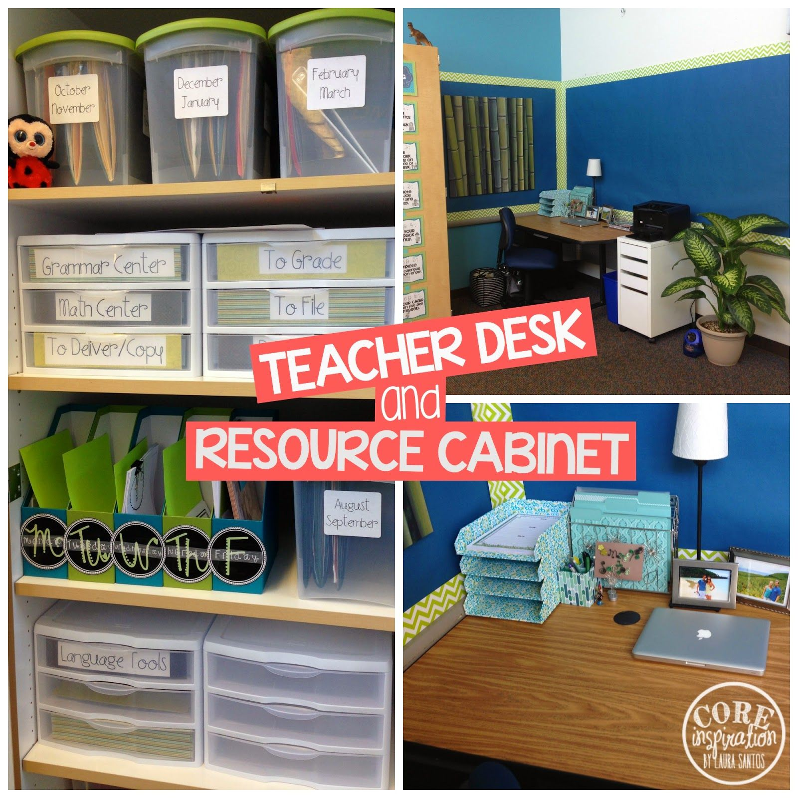 Core Inspiration By Laura Santos Day 2 Where My Classroom Digs Classroom Reveal Teacher Desk Organization Teacher Desk Areas