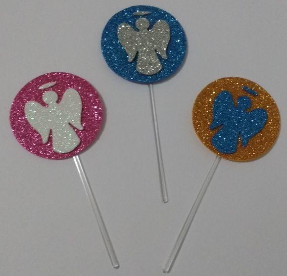 Topper para docinhos e cupacake silhueta de anjo com aréola confeccionado em EVA com Glitter nas cores Rosa, Azul , Branco , Prata ou Dourado , e palito de plastico transparente.   tamanho : 4,5 cm.