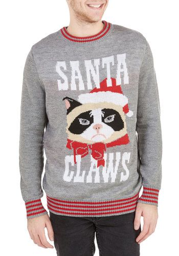 next stop coin op mini arcade machine ugly cat christmas sweatergrumpy