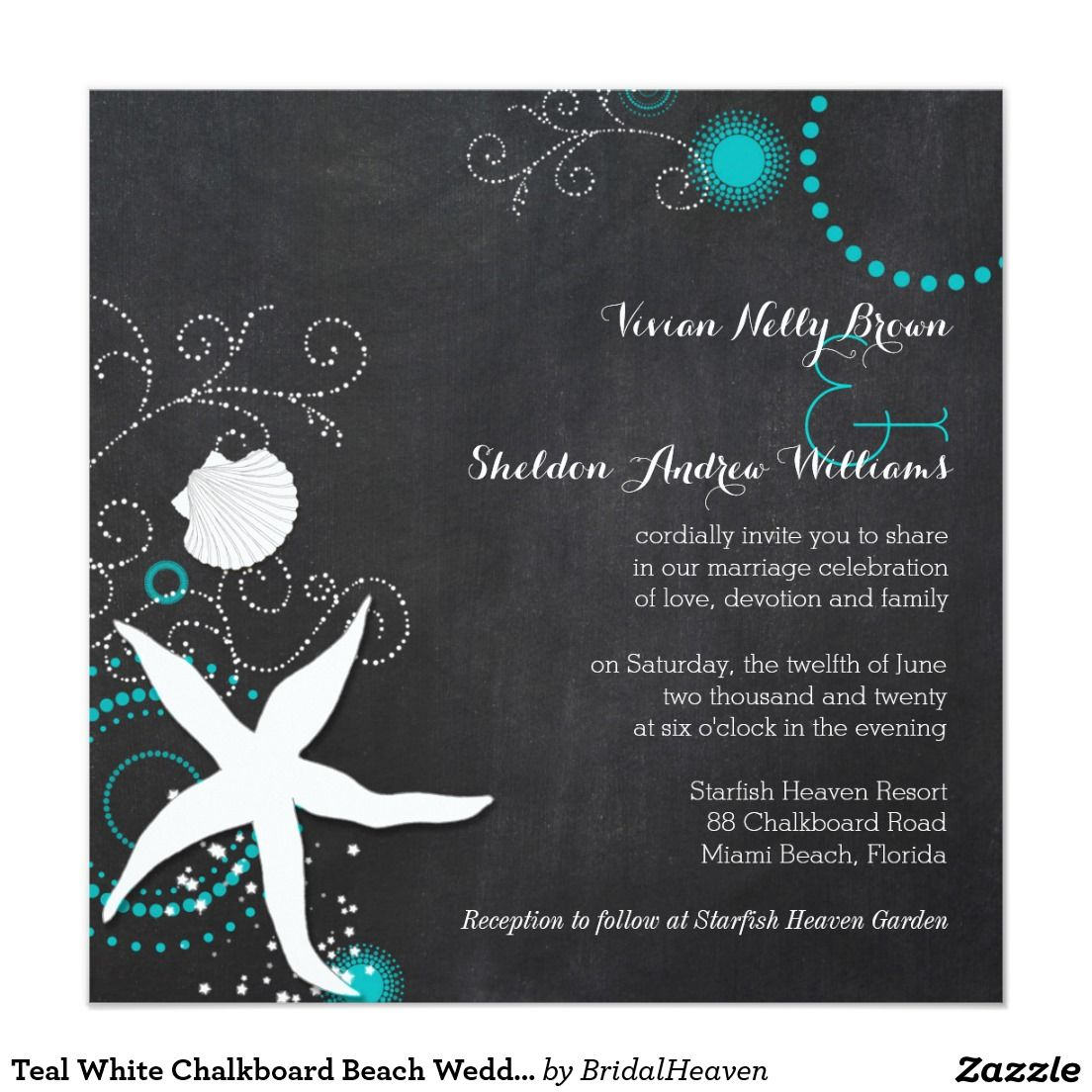 Teal White Chalkboard Beach Wedding Card Beach Wedding Invitations