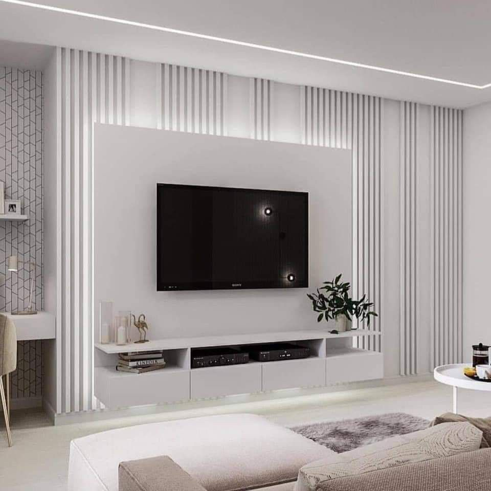 Luxurious T.V. Wall Design with Indirect Lightings To see more ...