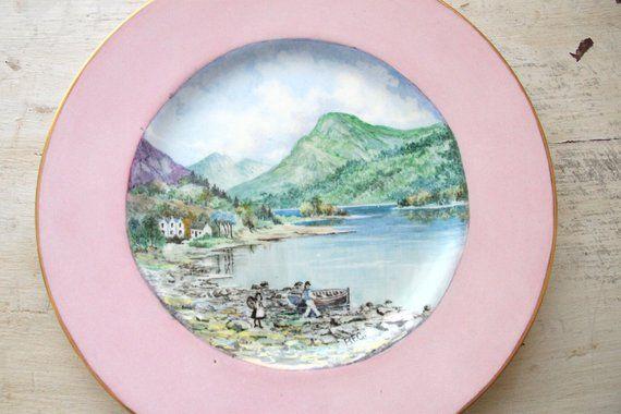 Pink Rimmed Minton Plates with Scottish Landscape, Loch Lomond, Luss Scotland, B. F. Climie, 1950s, #pinkrims