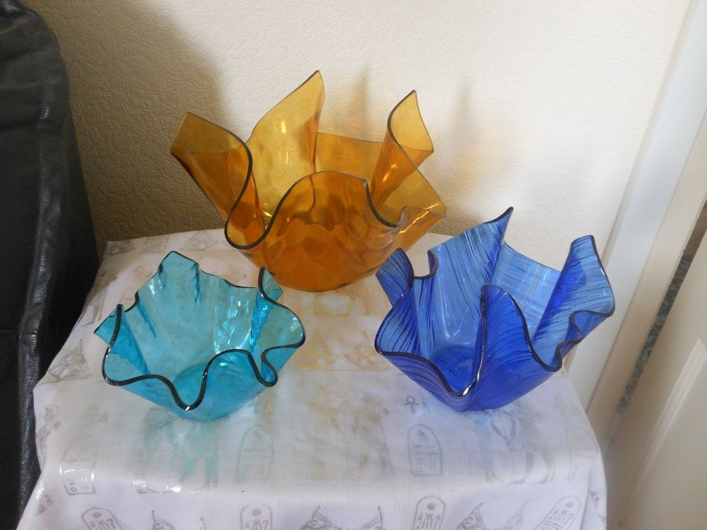 3 CHANCE GLASS Handkerchief Vases LARGE AMBER Medium Cobalt SMALL TURQUOISE | eBay