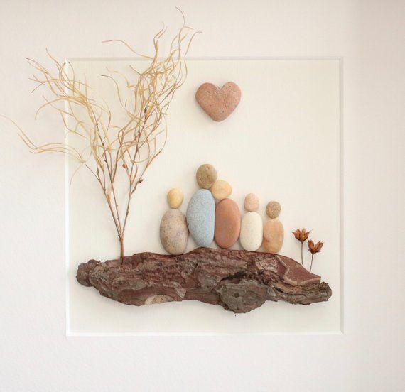 Kiesel-Bild der Familie von fünf, einzigartige Familie Geschenk, Vatertagsgeschenk, Geschenk, Geburtstag, Familie Geschenk, Kiesel Kunst, Kiesel Kunst Familie 5 #kieselsteinebilder