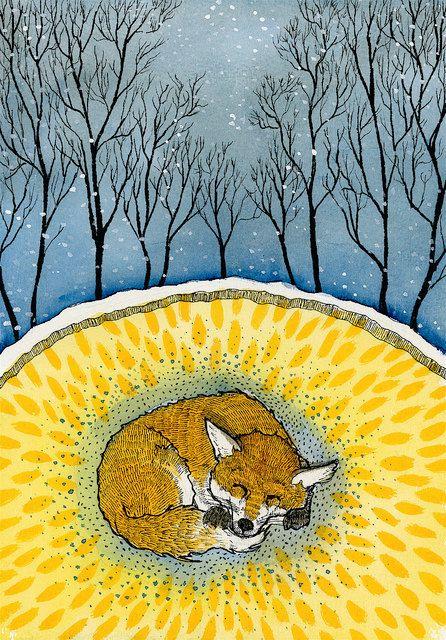 Red Fox art found on Etsy listing at https://www.etsy.com/listing/92792063/hibernating-fox-archival-print