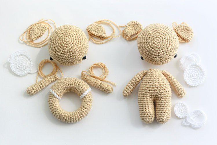 Amigurumi teddy bear and teddy rattle