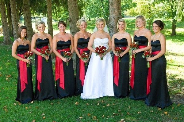 Red and Black Bridesmaids