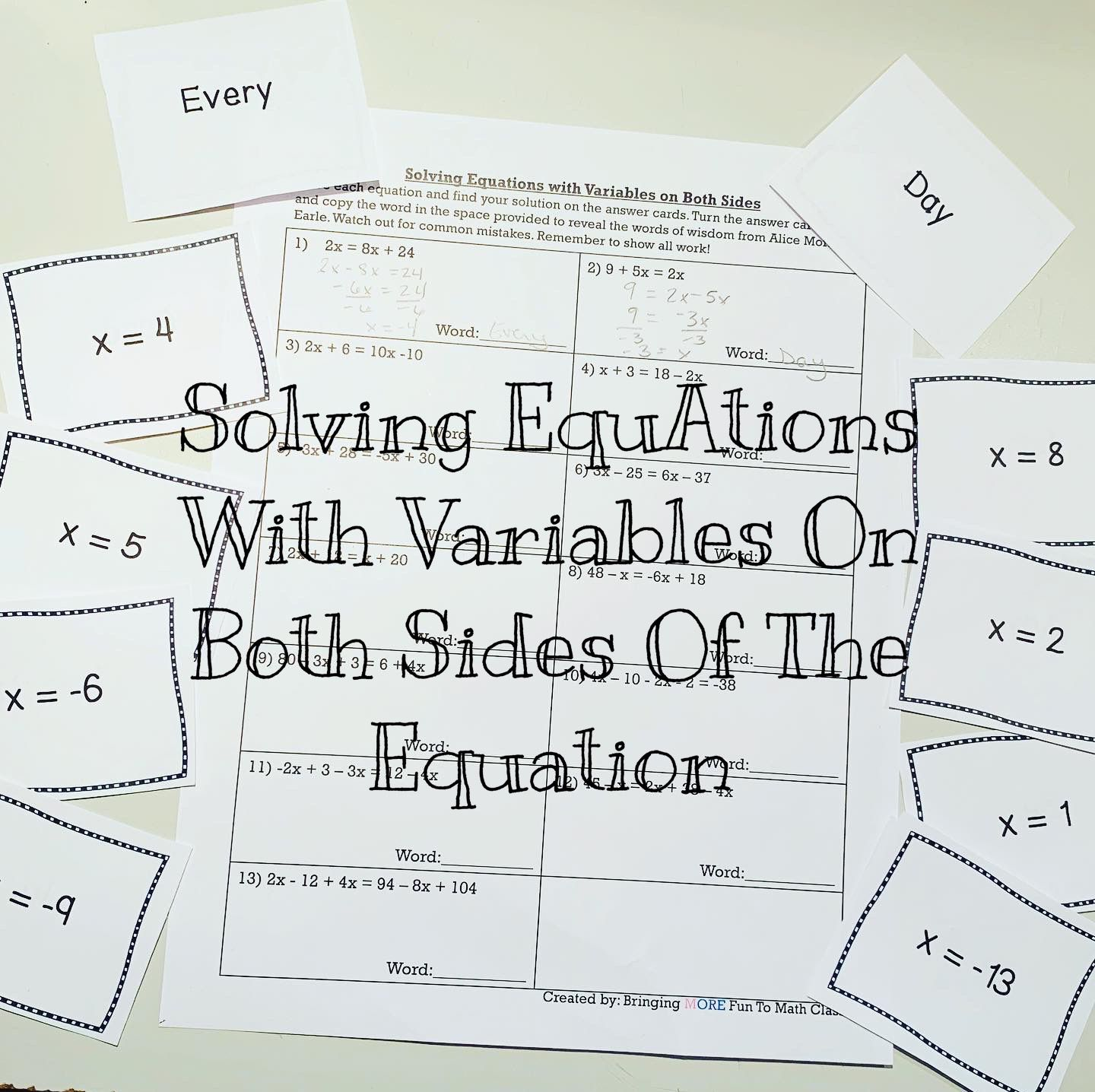 Solving Equations With Variables On Both Sides In