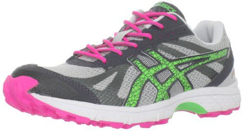 ASICS Womens GELFuji Racer Trail Running ShoeGreyNeo GreenHot Pink7 M US -- Read more reviews of the product by visiting the link on the image.