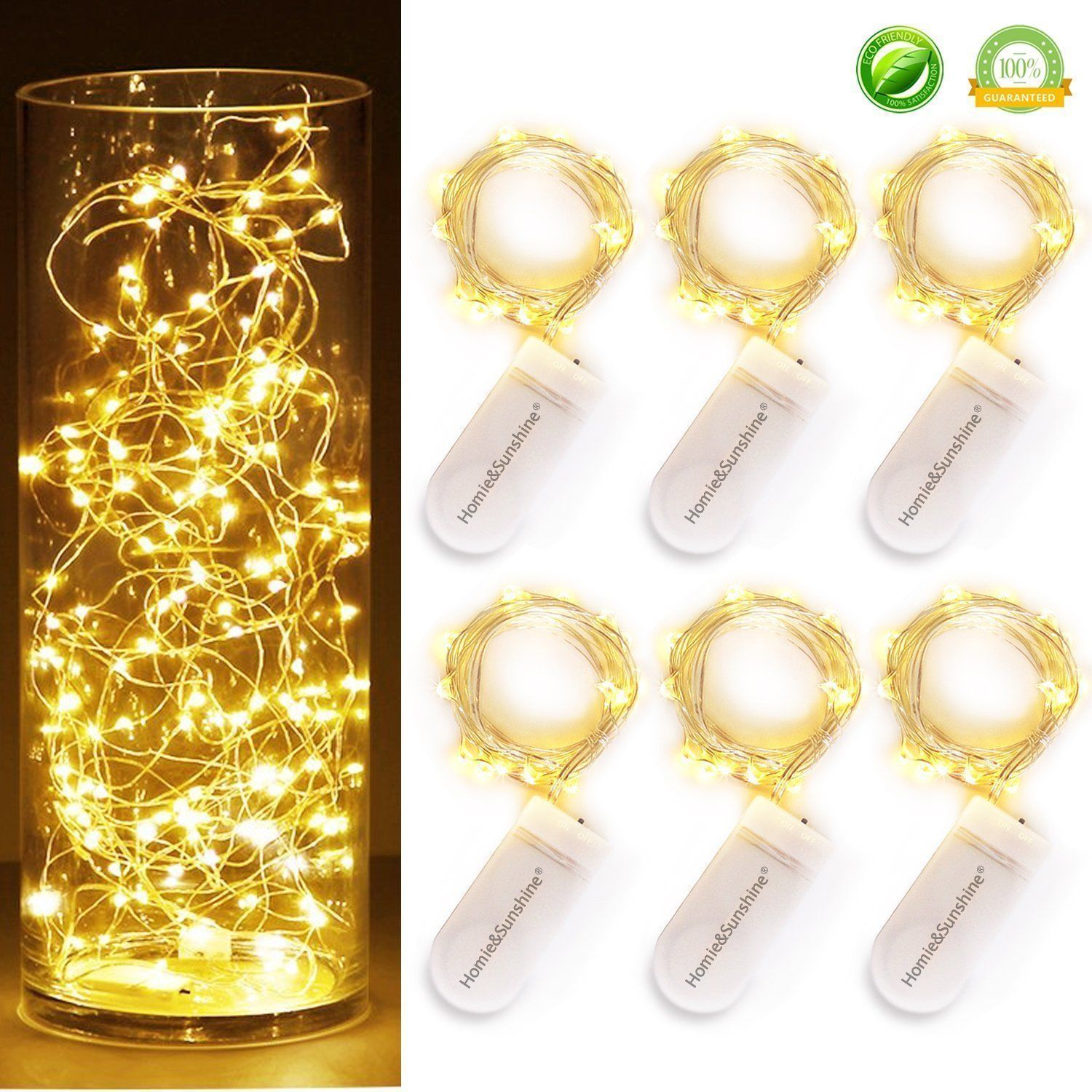 6 x 2M 20 LED Mini Starry LED Copper Wire String Fairy Lights Battery Operated