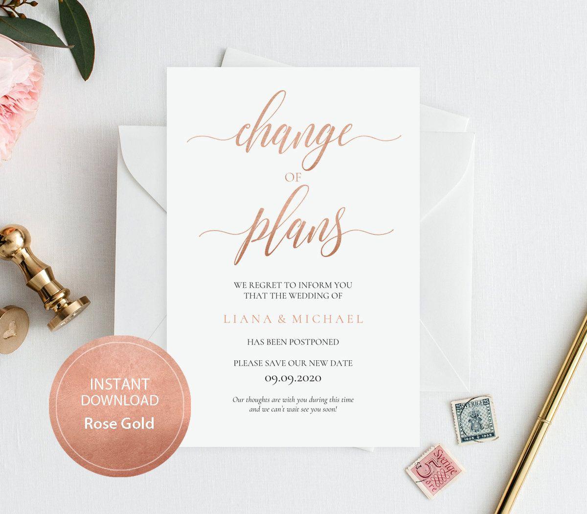 Wedding Postponed Card INSTANT DOWNLOAD PDF Template 4x6