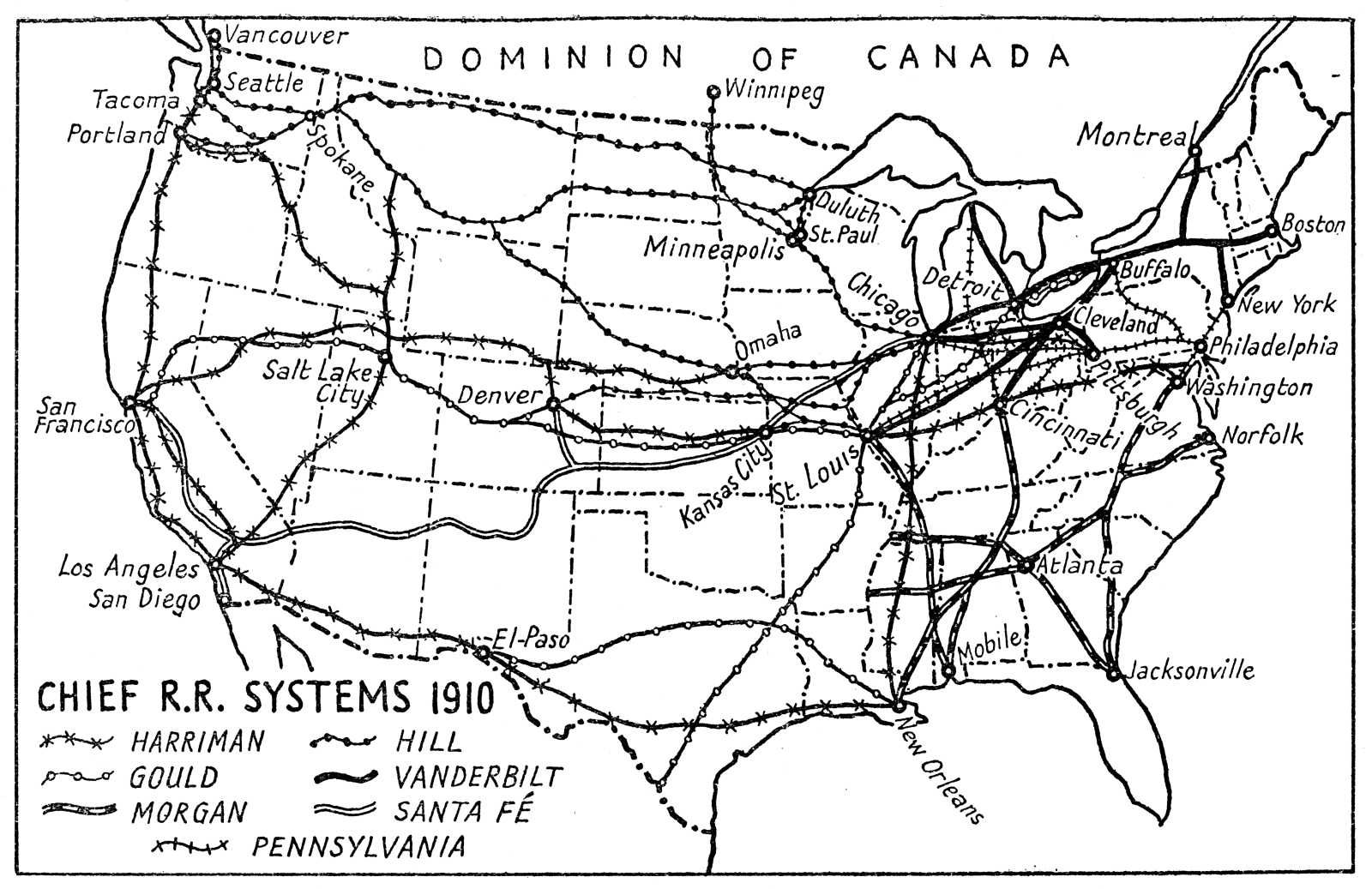 Map Of USA Chief Railroad Systems 1910 1942 History For My - Atlanta T Montgomery Rail On Map Of Us