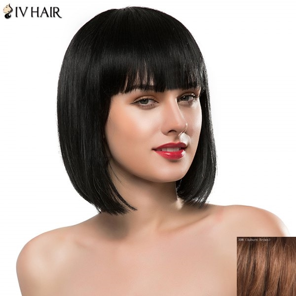 63.72$  Watch here - http://dihm6.justgood.pw/go.php?t=182347807 - Sweet Full Bang Short Real Natural Hair Bob Style Straight Siv Hair Capless Wig For Women 63.72$