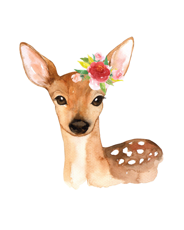 Fawn Deer Flower Floral Crown Watercolor Kids Printable Wall Art