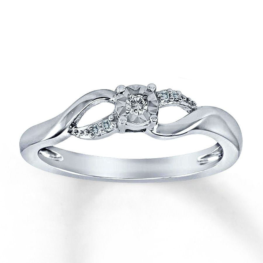 Diamond Promise Ring 120 ct tw RoundCut Sterling Silver Diamond