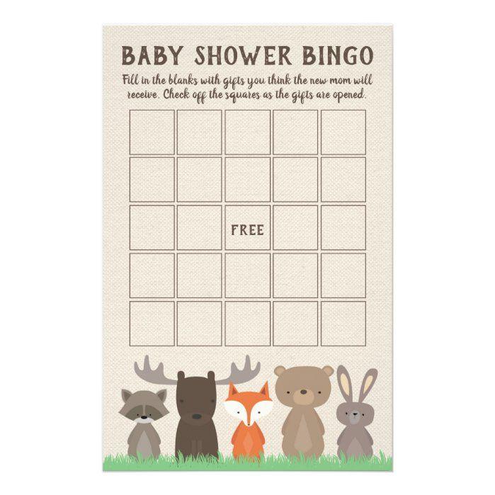 Woodland Baby Shower Bingo Game Cards   Zazzle.com