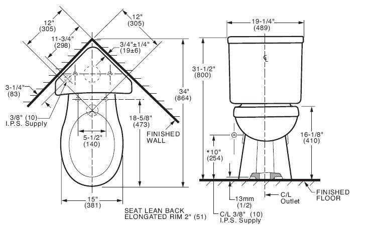 Schematic For Floorplan Corner Toilet Toilet American Standard