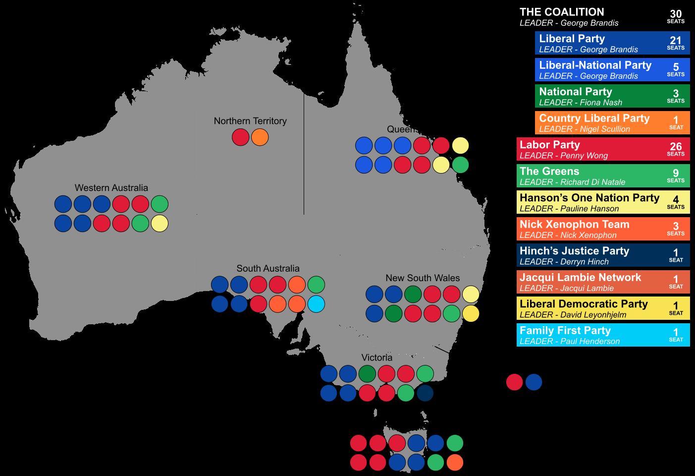 Map Of Australia 2016.Australia Senate Election 2016 Map Maps Of Australia Australasia