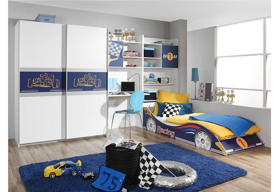 Kinderzimmer Idee in blau/weiß mit RennwagenBett