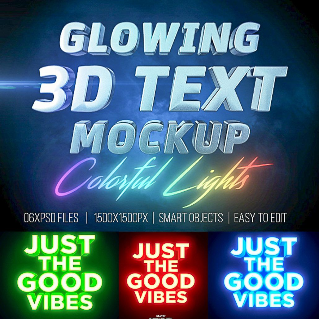 Glowing Text 3D Mockup | Logo Creation and Mock-Ups for FREE