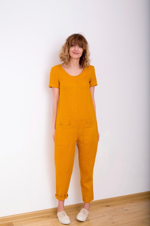 c93aa9b84c7b Mustard Linen Jumpsuit Short Sleeve Jumpsuit Women Overall