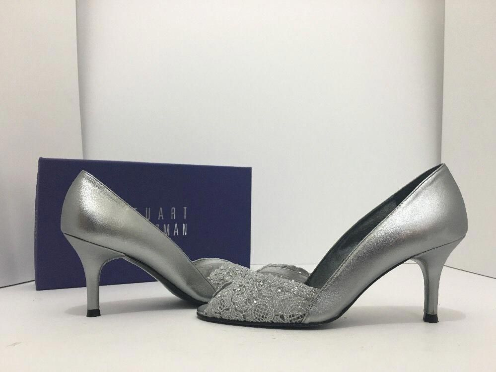 031cd70cdc6 Stuart Weitzman Chantelle Women's Silver Lace Evening High Heel ...