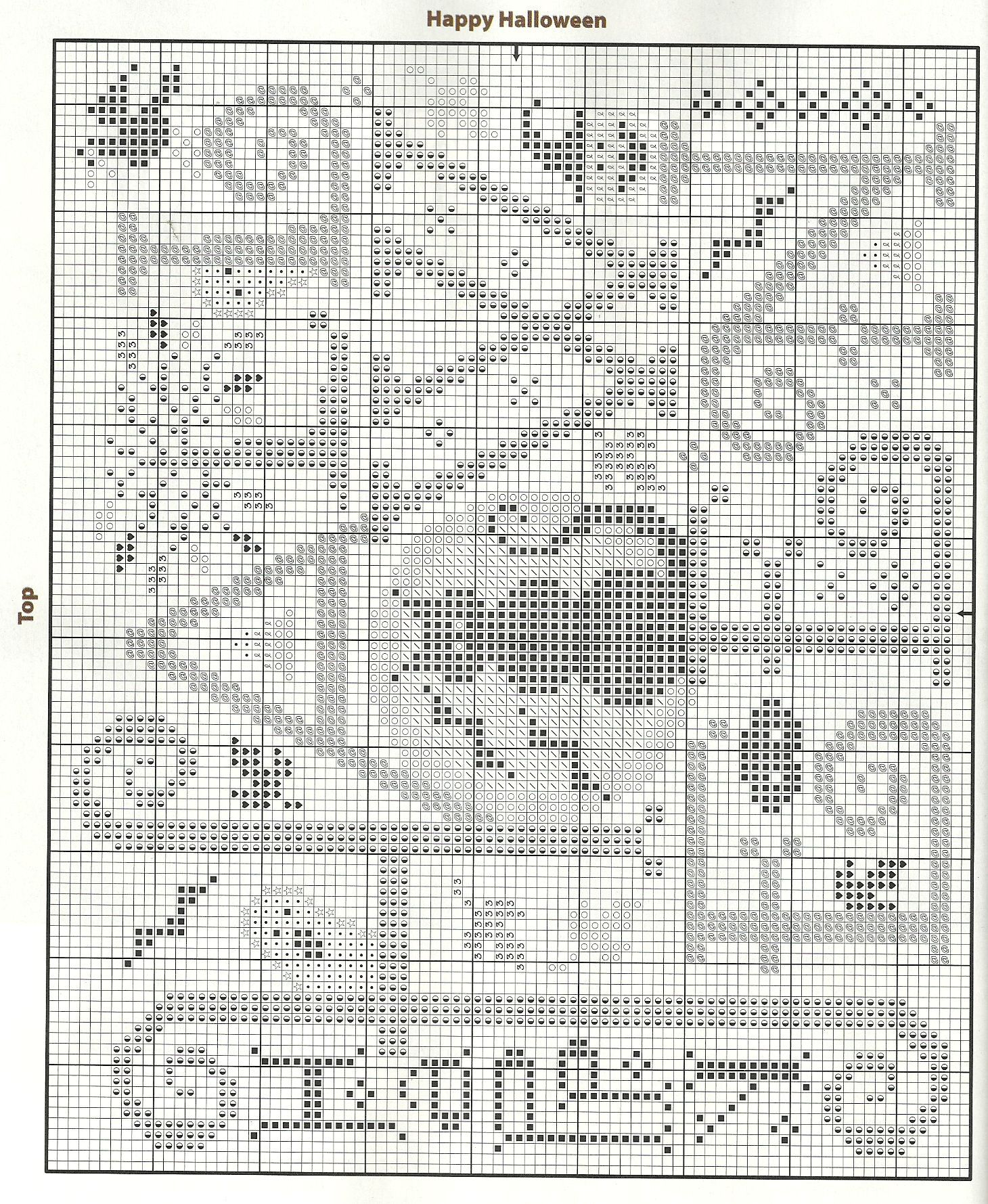 Happy Halloween • 1/2 Chart | Cross Stitch | Punto de cruz, Bordado ...